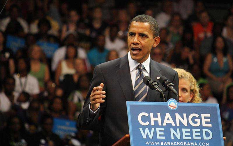 Barack Obama campaigning in 2008